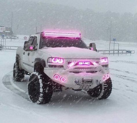 Lifted GMC sierra truck with neon pink lights. This truck is AMAZING! Just because it has the pink neon lights don't mean a boy can't drive it. Gmc Trucks, Jacked Up Trucks, Jeep Truck, Diesel Trucks, Cool Trucks, Pickup Trucks, Pink Lifted Trucks, Pink Chevy Trucks, Gmc Diesel