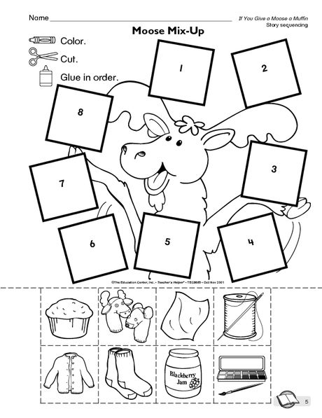 Sequencing activity for book If you give a Moose a Muffin SLP