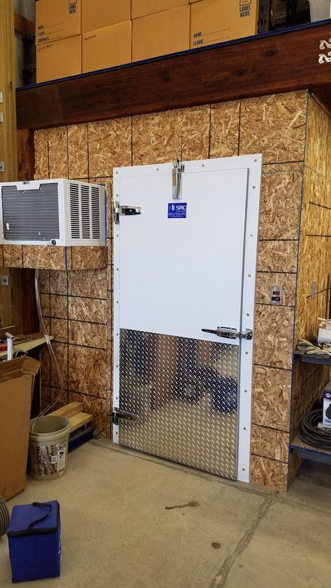 Projects How Jason Lyman Built a Professional Walk-In Meat Cooler on a Tight Budget The Rising Trend Agriculture, Deer Processing, Walk In Freezer, Diy Cooler, Deer Camp, Deer Hunting, Cool Doors, Hunting Blinds, Journeyman Lineman