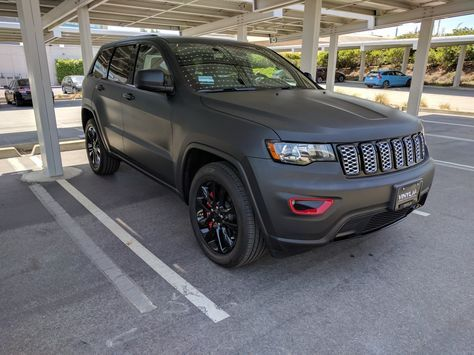 2017 Jeep Grand Cherokee Altitude With Matte Black Vinyl Wrap And Red Caliper Covers Jeep Grand Jeep Grand Cherokee Jeep Trailhawk