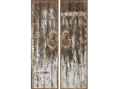 Inspired From Old Barn Doors These White Washed Fir Wood Panels Are Character Rich In Antique Details Iron Reinforce Hanging Wall Art Wall Art Sets Wood Wall