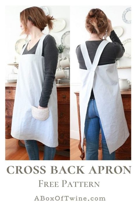Simple Cross Back Apron Pattern – A Box of Twine Simple Cross Back Apron Pattern Make this easy cross back apron, or pinafore apron, comfortable in Japanese style – with this free sewing pattern. Diy Sewing Projects, Sewing Projects For Beginners, Sewing Tutorials, Diy Fashion Projects, Sewing Aprons, Sewing Clothes, Quilted Clothes, Sew Your Own Clothes, Barbie Clothes