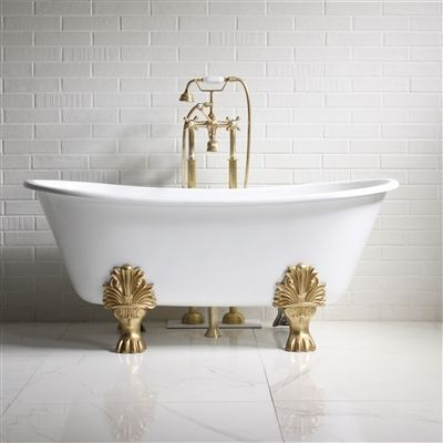 The Fountains 59 Cast Iron French Bateau Clawfoot Tub With