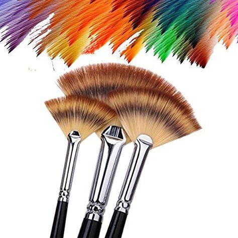 Paint Brush Set Artist Fan Painting Brushes Wood Long Hands For