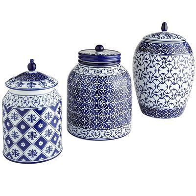 Coffee Tea Sugar Canisters Blue And White Pottery Kitchen Gadgets Tools Pinterest Sugaring Teas