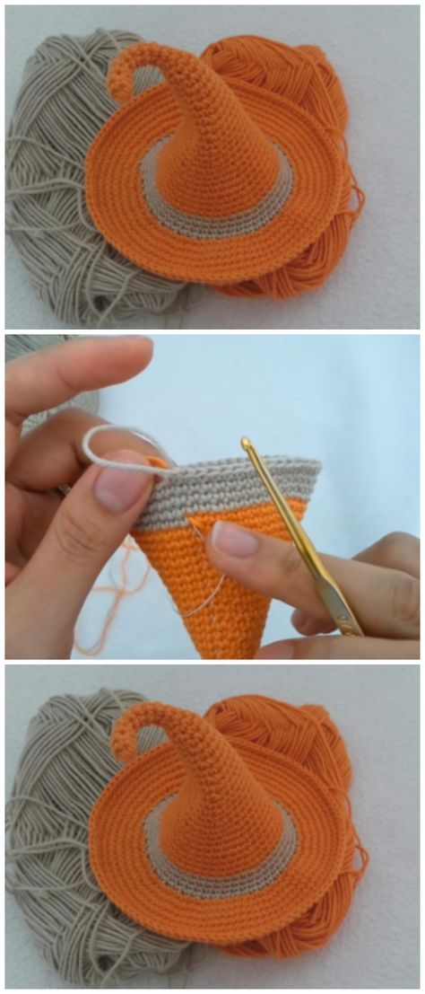 crochet pony Lets make super easy Crochet Witch Hat together. This fast, easy hat is designed with a floppy brim as well as a flopped-over point. Crochet Pony, Poney Crochet, Crochet Amigurumi, Crochet Fall, Holiday Crochet, Filet Crochet, Crochet Stitches, Crochet Hooks, Knit Crochet