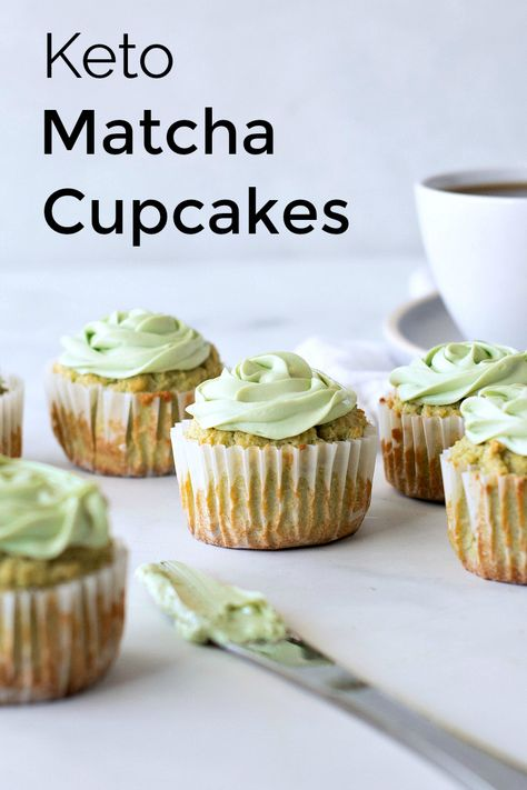 Keto Matcha Cupcake Recipe with Matcha Cream Cheese Frosting