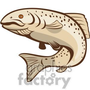 Rainbow Trout Jumping Up Shape Clipart Royalty Free Clipart