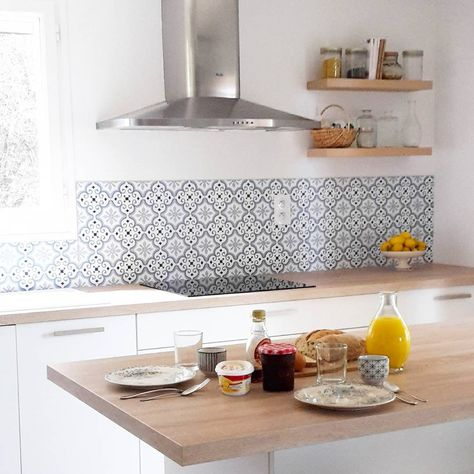 Kitchen Cement Tiles Backsplash Audella Fr Wood And White