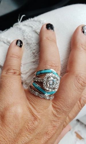 These Ring Are Completely Magically Versatile Sherry Turquoise And Diamonds Its A T Western Wedding Rings Western Engagement Rings Turquoise Wedding Rings