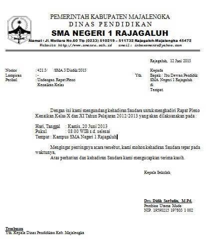 Contoh Surat Undangan Rapat Dinas Undangan Sekolah Teks Lucu