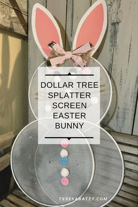 Still on the splatter screen trail? I am, and I couldn't go without making a Dollar Tree Splatter Screen Easter Bunny since it will be here before you know it. Bunny Crafts, Easter Crafts For Kids, Easter Ideas, Diy Easter Decorations, Easter Centerpiece, Centerpiece Ideas, Thanksgiving Decorations, Centerpieces, Splatter Screens