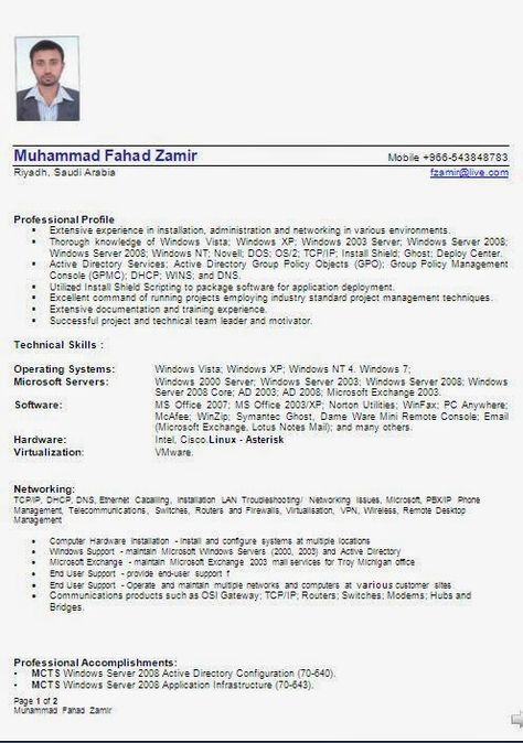 cv building Sample Template Example ofExcellent Curriculum Vitae - active directory resume