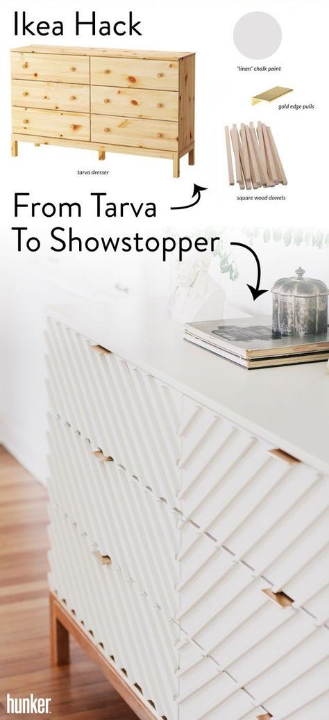 We can't get enough of this amazing Transform a humble Tarva dresser into a stunning chest of drawers that looks custom-made. Vintage oyster-hued chalk paint paired with gilded touches in the legs and hardware elevate the piece into a design superstar. Ikea Furniture Hacks, Ikea Hacks, Furniture Projects, Furniture Makeover, Home Projects, Home Furniture, Furniture Storage, Ikea Bedroom Furniture, Painting Ikea Furniture