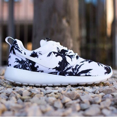 nike roshe run free run nike 5.0, Damen Palm Trees Schwarz