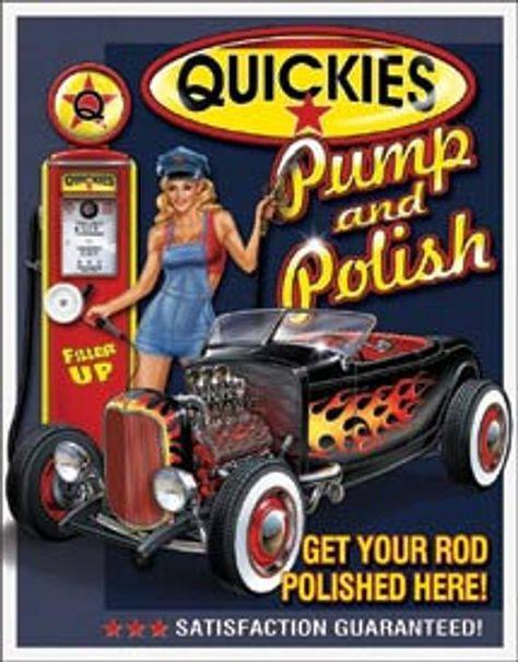 Gas Station Garage Tin Sign Quickies Pump Polish Pin Up Garage Signs, Garage Art, Garage Bedroom, Vintage Metal Signs, Vintage Pins, Vintage Style, Retro Vintage, Vintage Industrial, Industrial Style
