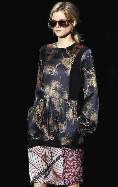 Contemporary patchwork dress with clashing prints; floral pattern fashion // Dries Van Noten