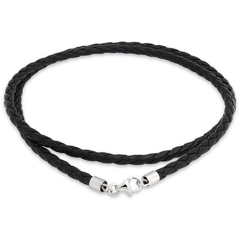 Braided Black Leather Necklace Cord 3mm Stainless Steel 24 Inch Mens Womens