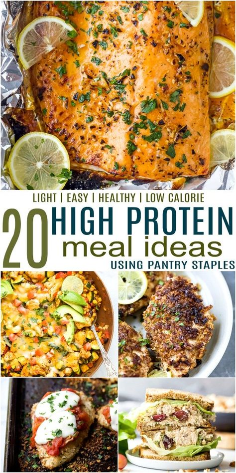 20 Easy High Protein Meals that are loaded with protein & fiber to fill you up! Each of these dinners is packed with lean meats, veggies and pantry staples. High Protein Snacks, Healthy High Protein Meals, High Protein Dinner, Healthy Meal Prep, Easy Healthy Recipes, Low Calorie High Protein, Protein Cake, Healthy Eats, Pozole Rojo