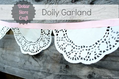 Dollar Tree has the supplies you need to create this simple, elegant doily garland. Swing by your local store today!