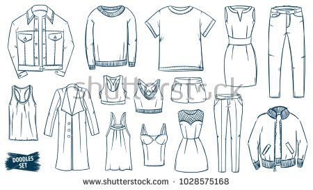 Clothes Doodles Set Fashion Sketch Apparel Outfit Fashion Collection Casual Style Fashion Doodles Clothes Sketches Tra Fashion Sketches Fashion Apparel