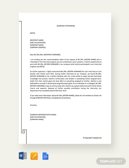 Free Letter Of Recommendation For Internship From Employer In 2020
