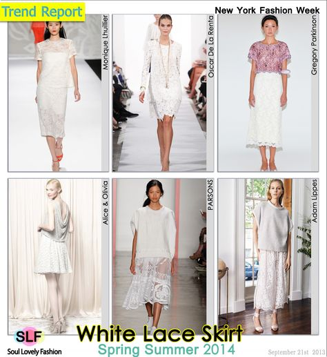 White Lace Skirt Fashion #Trend for Spring Summer 2014 at New York #Fashion Week #NYFW #Spring2014 #white #Colors #lace #fabric #Trends