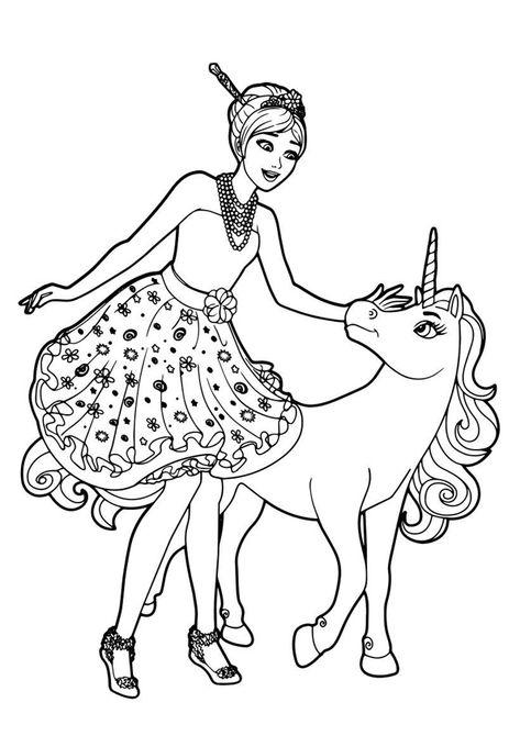 Barbie E L Unicorno Da Colorare Nel 2020 Disegni Da Colorare