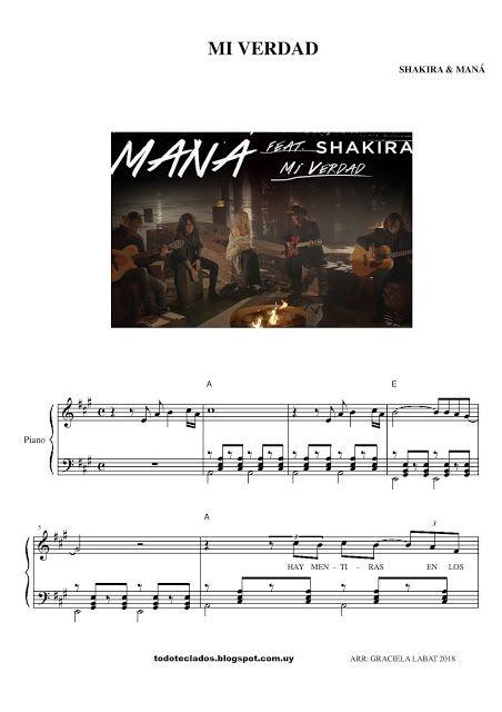 Mi Verdad Shakira Maná Mi Verdad Shakira Shakira Partituras