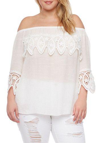 0227ce6954750 Plus Size Off the Shoulder Crochet Trim Top