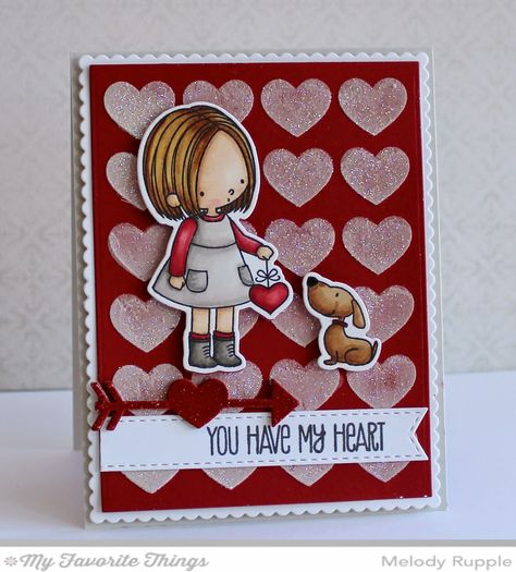 You Have My Heart stamp set and Die-namics, Background Hearts Stencil - Melody Rupple #mftstamps