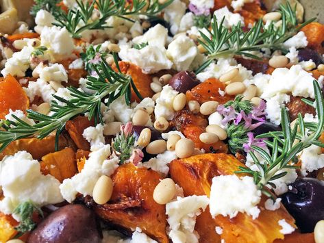 Pumpkin - Roast Pumpkin, Feta, Olive & Pinenut Tart with Fresh Rosemary & Cretan Thyme