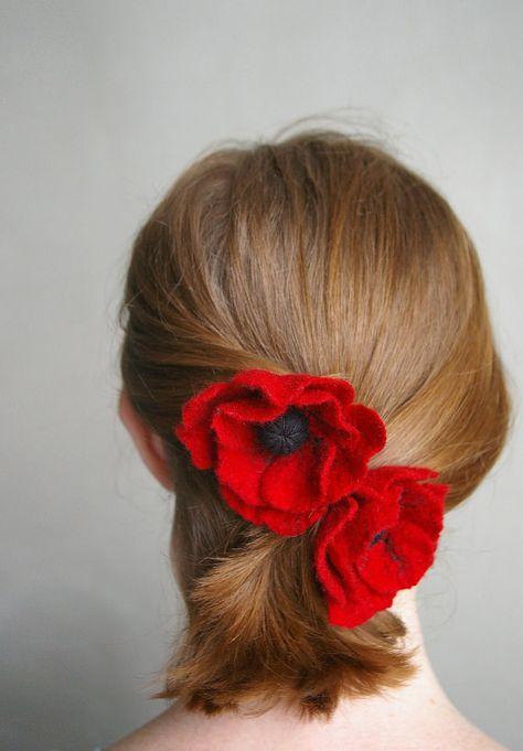 felted flower pin brooch  hair accessory / POPPY / 3 by Patricija, $19.00