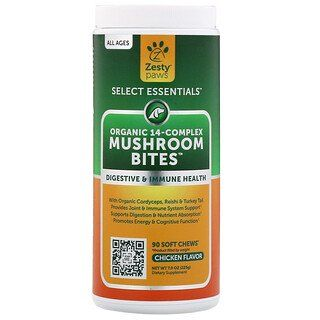 Zesty Paws Mushroom Bites For Dogs Everyday Vitality All Ages Chicken Flavor 90 Soft Chews Discontinued Item Mushroom Bites Stuffed Mushrooms Chicken Flavors