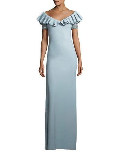 Chiara Boni La Petite Robe Noriko Pleated V Neck Column Gown