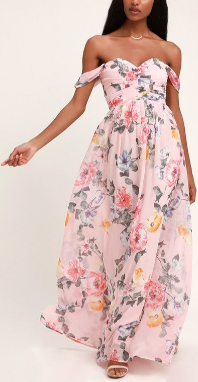 Harmonious Love Blush Floral Print Off The Shoulder Maxi Dress Wedding Guest Outfit Spring Spring Wedding Guest Dress Summer Wedding Outfits