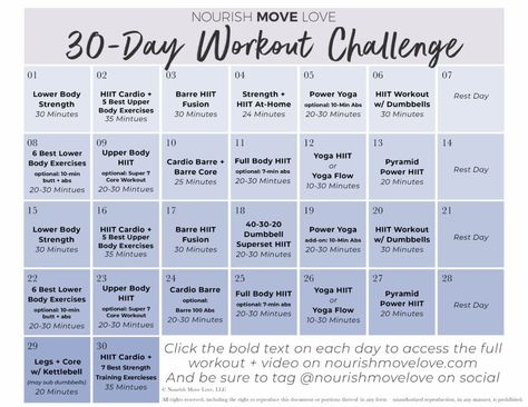 FREE 30 Day Workout Challenge + Workout Calendar