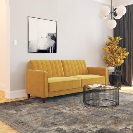 Dhp Pin Tufted Sofa Bed In Velvet Mustard Yellow Walmart Com With Images Sofa Bed Classic Sofa Bed Tufted Sofa