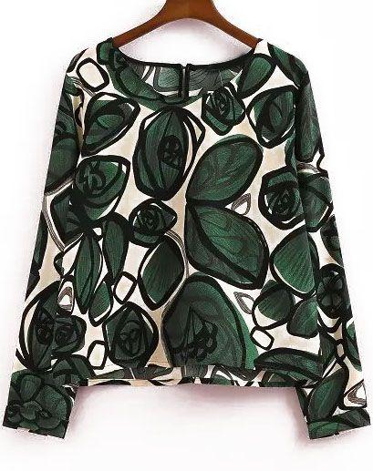 Blusa Crop hojas manga larga-verde-Spanish SheIn(Sheinside)