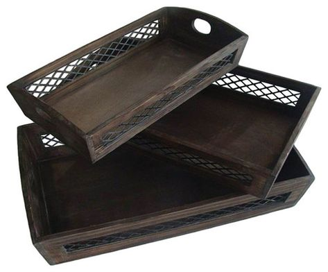 Decorative Fruit Dish Serving Wooden Tray With Wire Sides 3 Piece Set Nested For Space Saving Wire Sides Wood Tray Set Farmhouse Serving Trays Tray Decor