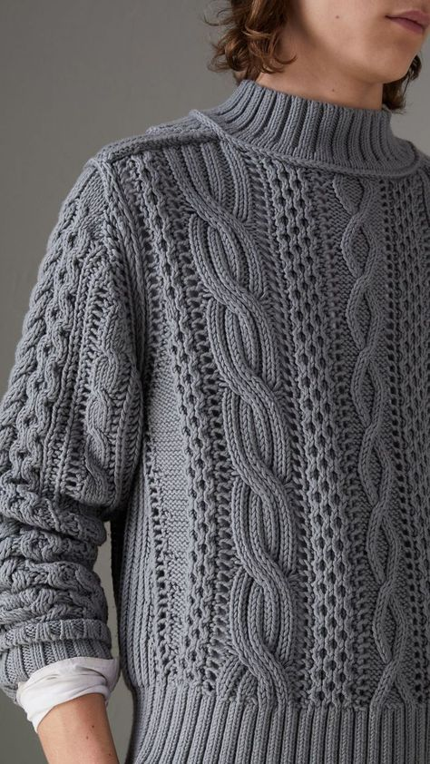 Open-stitch Detail Cable Knit Cotton Cashmere Sweater in Stone Blue - Men