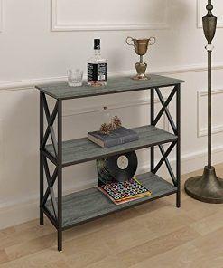 Phenomenal Weathered Grey Oak Finish 3 Tier Metal X Design Bookcase Short Links Chair Design For Home Short Linksinfo