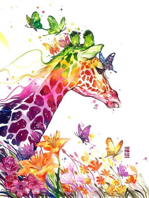 L Effet Magique Des Aquarelles De Jongkie Art De Girafe
