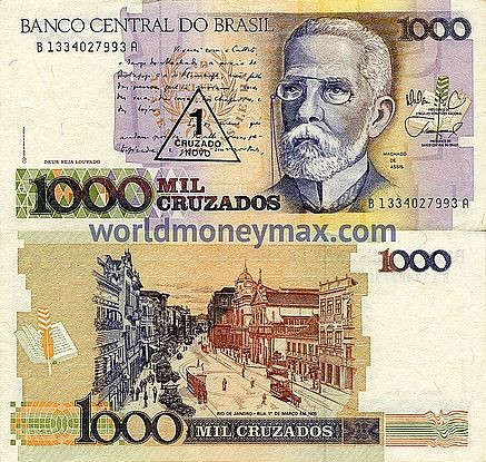 Brazil 1000 Cruzado 1988 Banknote Worldmoneymax Com Banco