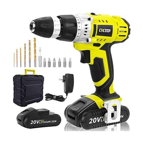 Cacoop Cordless Drill Driver 20v Power Drill Kit Electric Drill Set 13 Pcs Drills Bits Kit 2 Pcs 1500mah Lithium Ion Batt Drill Driver Drill Set Cordless Drill