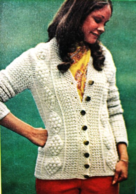 Crochet Pattern for Aran Fisherman Cardigan Sweater (PDF)   Manta ...
