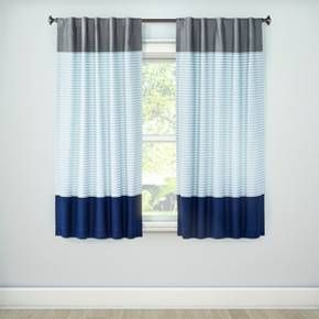Colorblock Striped Blackout Curtain Panel Pillowfort Light Blue Curtains Kids Room Curtains Panel Curtains