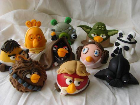 3D Edible Angry Birds Star Wars Topper Fondant por MochysArtCraft