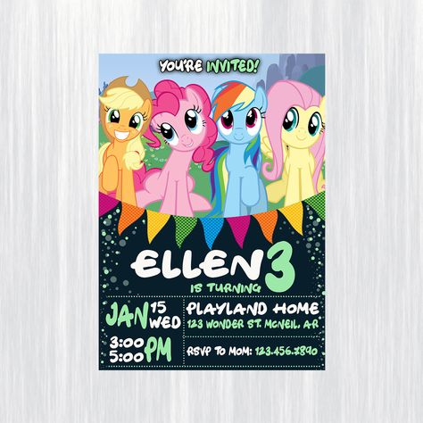 Little Pony Birthday Invitation Card Printable