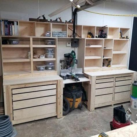 Top 80 Best Tool Storage Ideas - Organized Garage Designs From power to hand t. Top 80 Best Tool Storage Ideas – Organized Garage Designs From power to hand tools and beyond, Garage Tool Storage, Garage Tool Organization, Workshop Storage, Garage Tools, Organization Ideas, Garage Shop, Diy Garage Work Bench, Car Garage, Power Tool Storage